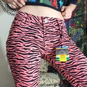 Hot Topic Pants - Crunch Pink Black Zebra Pants Rock Star Rocker